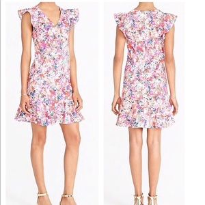 NWT J. Crew Floral Ruffled Tank Dress V-Neck